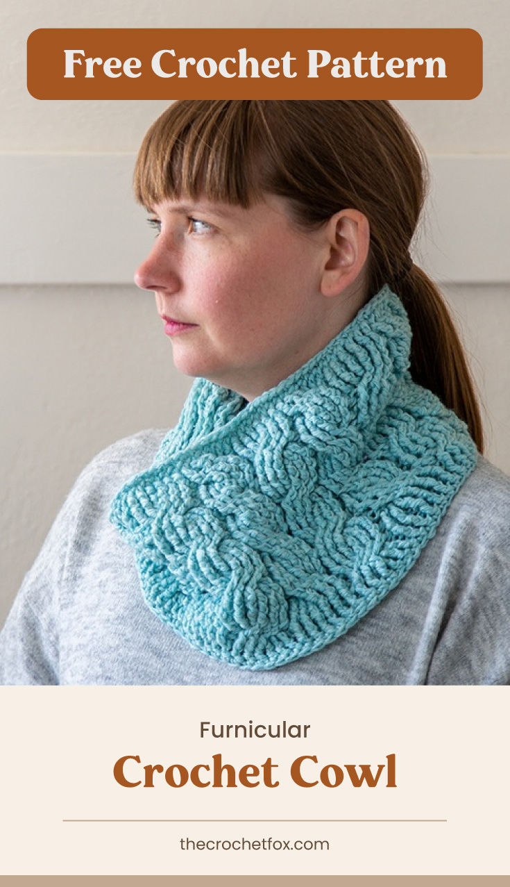 """Text area which says """"Free Crochet Pattern"""" next to woman with bangs and a ponytail wearing blue crocheted cowl with tubular designs followed by another text area which says """"Furnicular Crochet Cowl, thecrochetfox.com"""""""