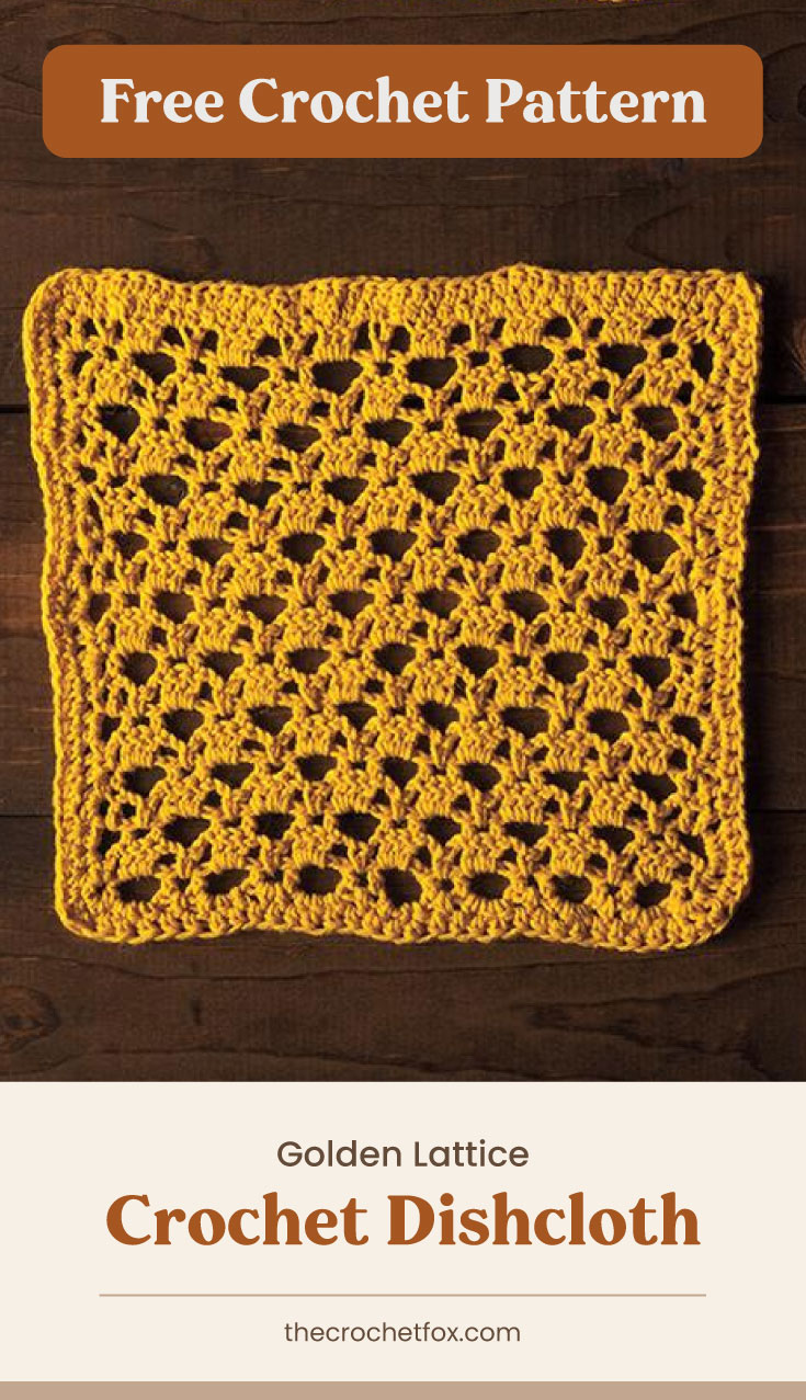 """Text area which says """"Free Crochet Pattern"""" next to a golden lattice crochet dishcloth on a wooden surface followed by another text area which says """"Golden Lattice Crochet Dishcloth, thecrochetfox.com"""""""