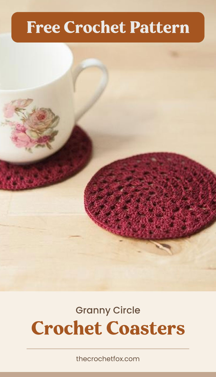 """Text area which says """"Free Crochet Pattern"""" next to two red crochet coasters with a tea cup on one of them followed by another text area which says """"Granny Circle Crochet Coasters, thecrochetfox.com"""""""