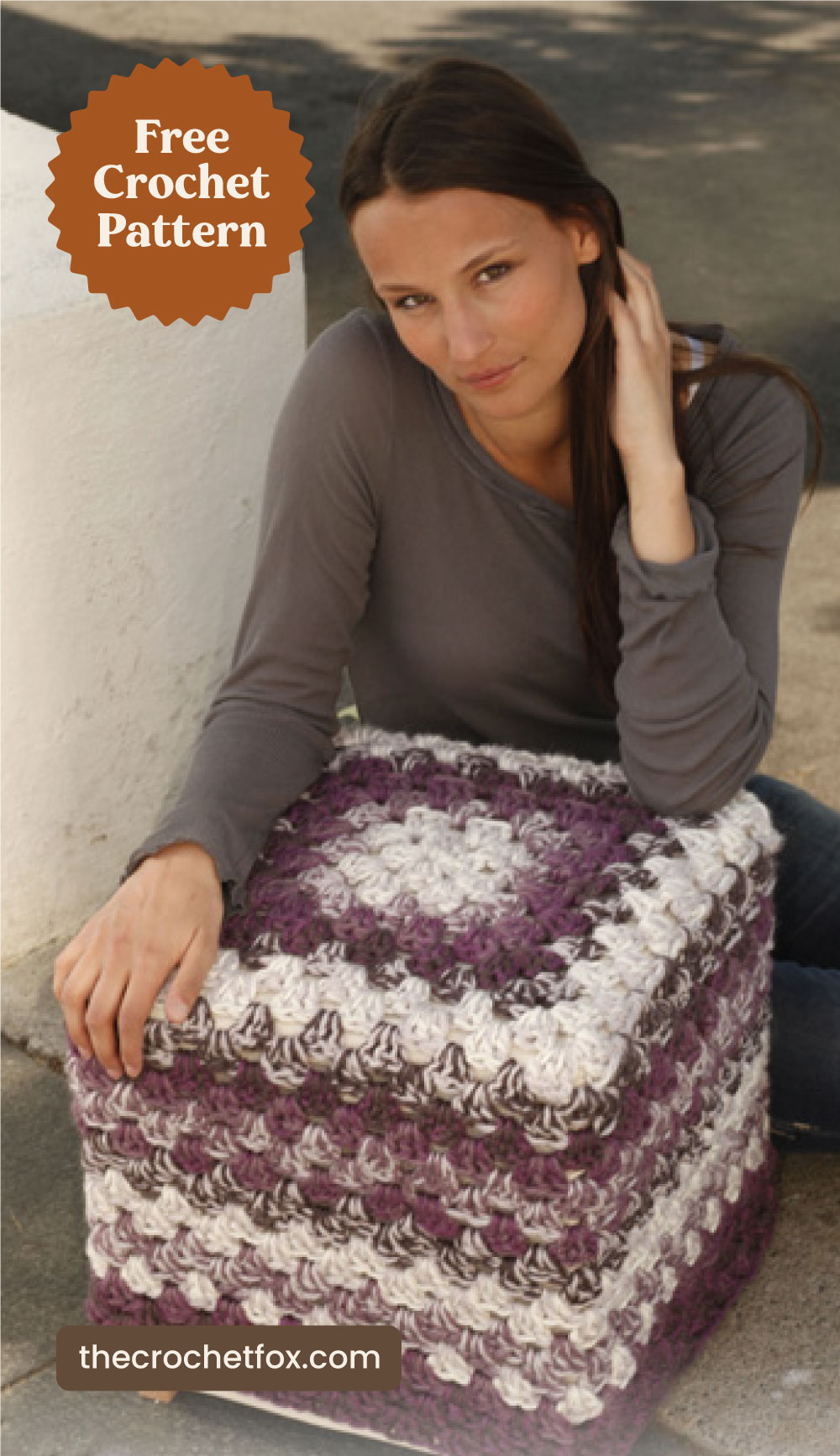 """Text area which says """"Free Crochet Pattern"""" next to a woman holding a granny square crochet pouf followed by another text area which says """"thecrochetfox.com"""""""