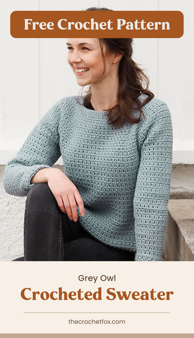 """Text area which says """"Free Crochet Pattern"""" next to a woman wearing a gray crocheted sweater followed by another text area which says """"Grey Owl Crocheted Sweater, thecrochetfox.com"""""""