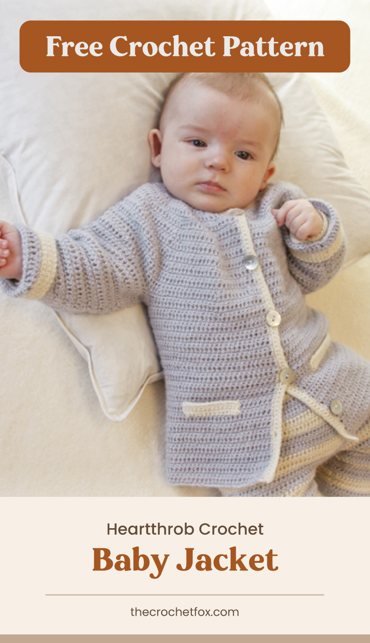 """Text area which says """"Free Crochet Pattern"""" next to a sleepy baby wearing a crochet buttoned down jacket followed by another text area which says """"Heartthrob Crochet Baby Jacket, thecrochetfox.com"""""""
