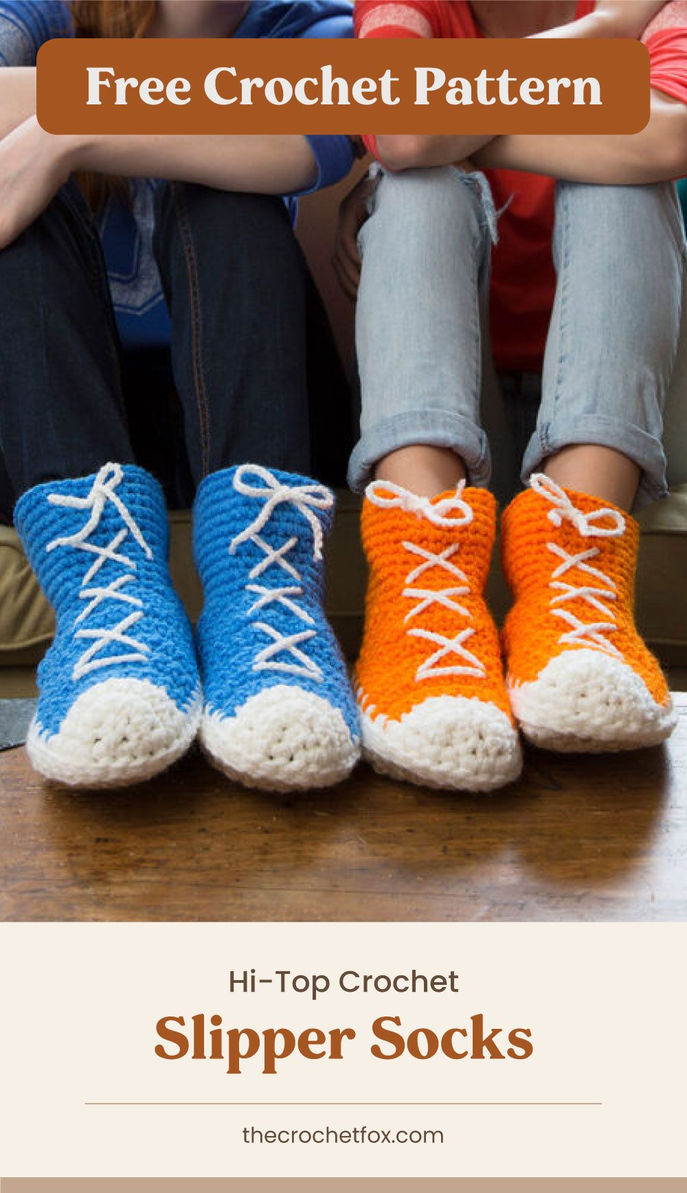 """Text area which says """"Free Crochet Pattern"""" next to two pairs of feet on a table wearing a blue and orange crochet slippers that are sneakers-inspired followed by another text area which says """"Hi-Top Crochet Slipper Socks, thecrochetfox.com"""""""