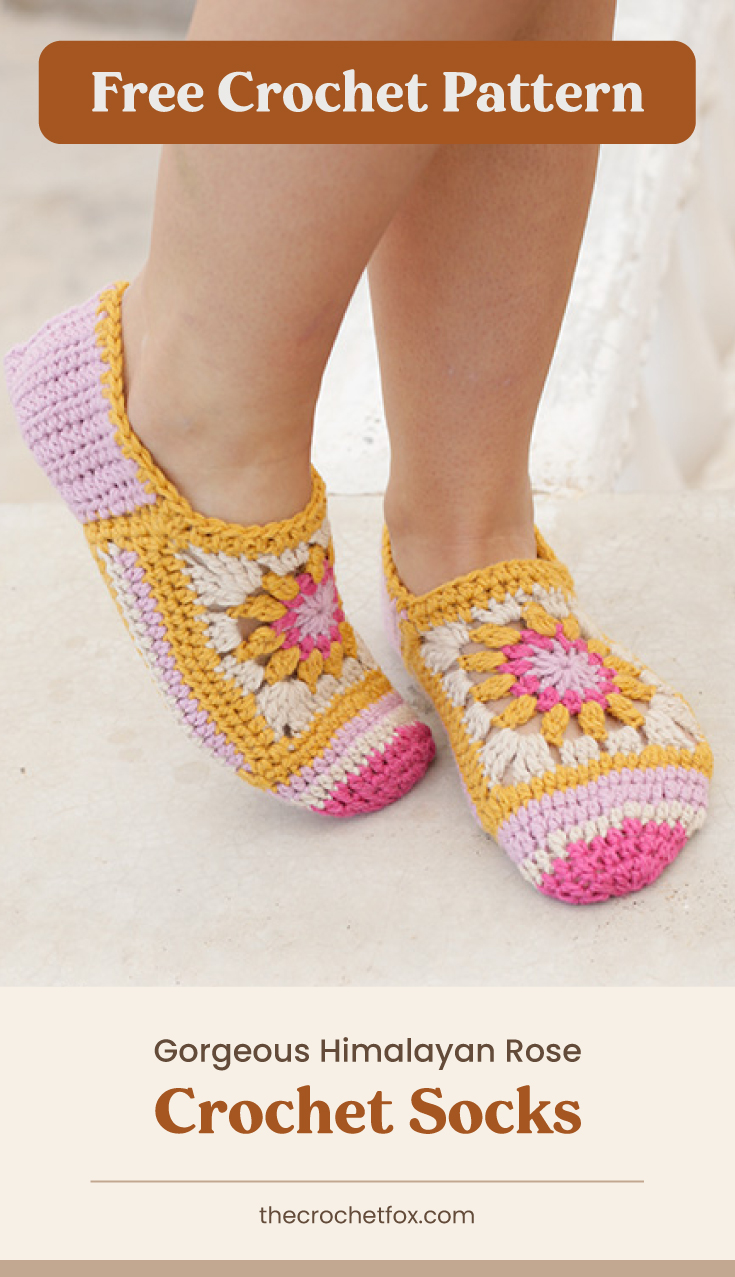 "Text area which says ""Free Crochet Pattern"" next to a close-up to feet wearing a pair of colorful floral crochet slippers followed by another text area which says ""Gorgeous Himalayan Rose Crochet Socks, thecrochetfox.com"""