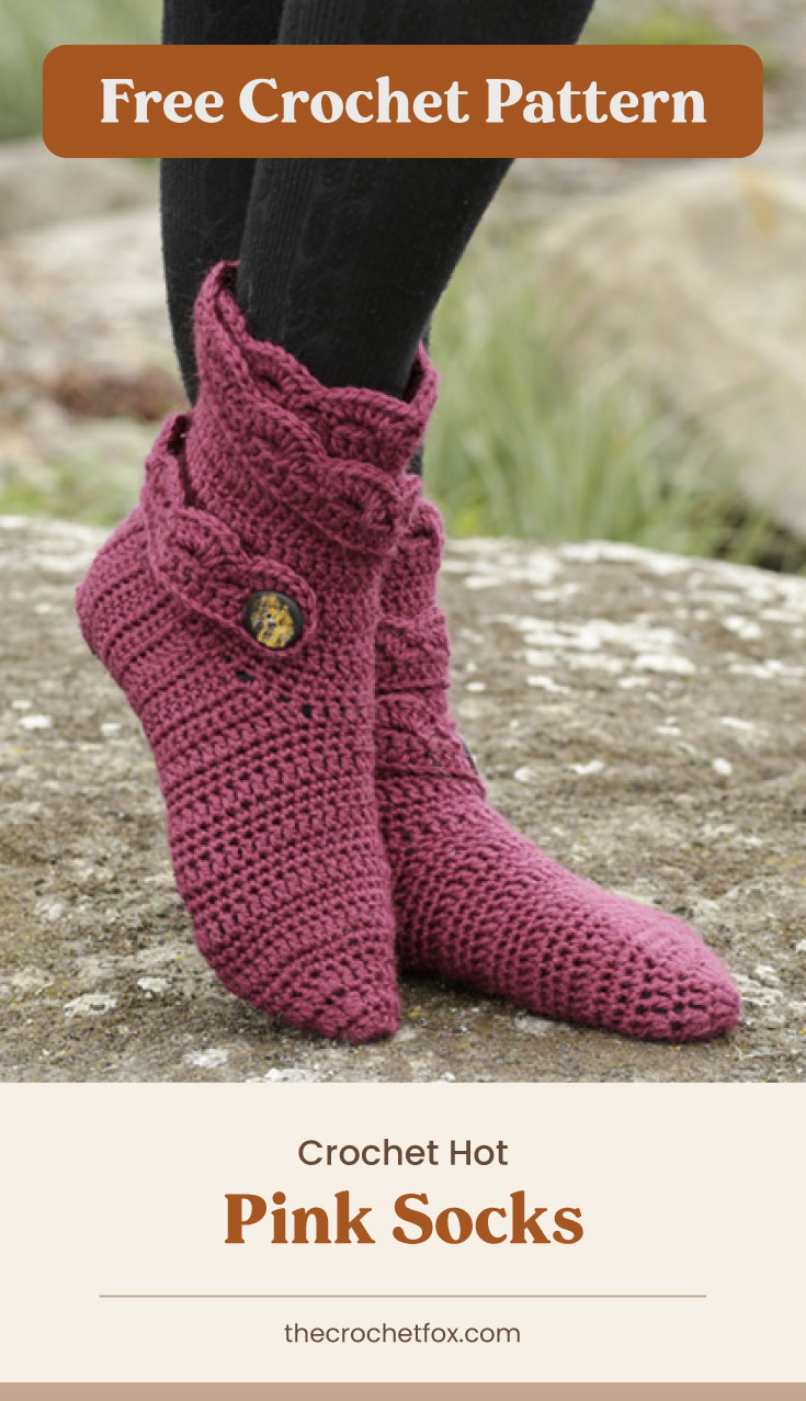 """Text area which says """"Free Crochet Pattern"""" next to a person wearing a pair of red boot-style crocheted slippers while standing on a rock followed by another text area which says """"Crochet Hot Pink Socks, thecrochetfox.com"""""""