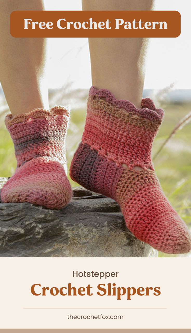 """Text area which says """"Free Crochet Pattern"""" next to a person wearing a pair of crocheted slippers while standing on a rock followed by another text area which says """"Hotstepper Crochet Slippers, thecrochetfox.com"""""""