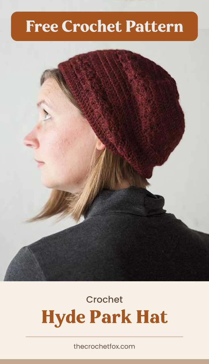 """Text area which says """"Free Crochet Pattern"""" next to a woman wearing a dark red crocheted hat followed by another text area which says """"Crochet Hyde Park Hat, thecrochetfox.com"""""""