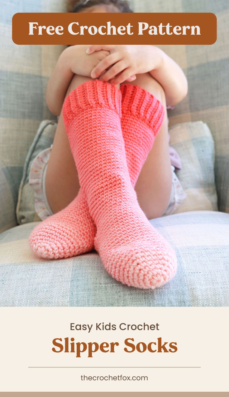 "Text area which says ""Free Crochet Pattern"" next to a close-up to a kid's legs wearing a pink ombre crochet knee length socks followed by another text area which says ""Easy Kids Crochet Slipper Socks, thecrochetfox.com"""