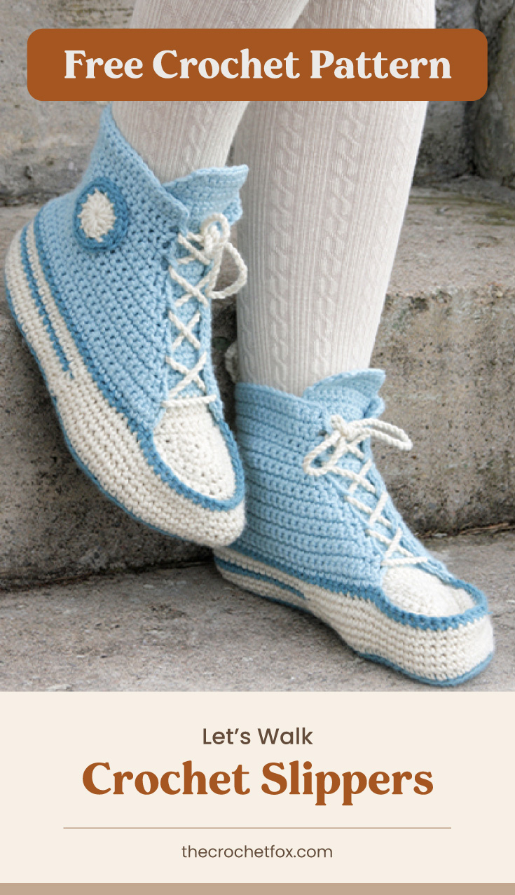 """Text area which says """"Free Crochet Pattern"""" next to a pair of feet wearing a white and blue crocheted slippers that resembles a pair of sneakers followed by another text area which says """"Let's Walk Crochet Slippers, thecrochetfox.com"""""""