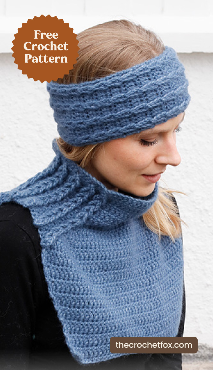 """A woman wearing a blue crochet headband with a matching crochet neck warmer and text area which says """"Free Crochet Pattern, thecrochetfox.com"""""""