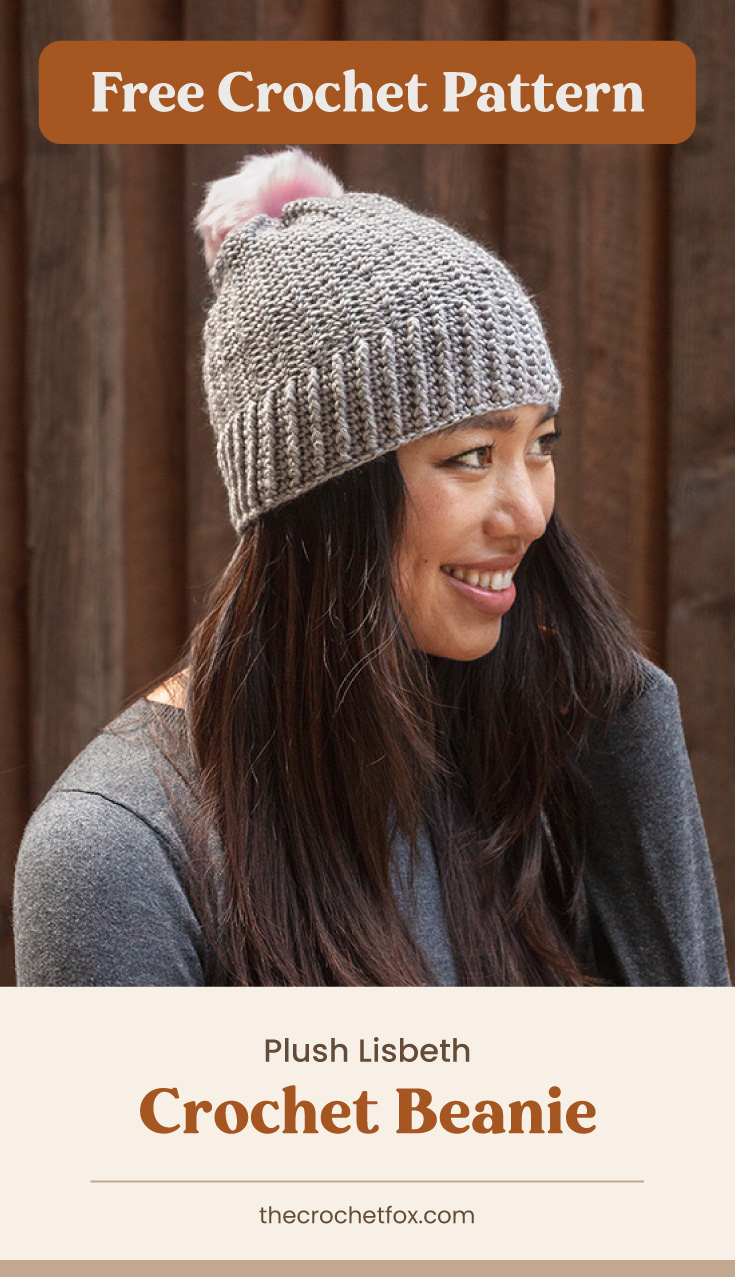 """Text area which says """"Free Crochet Pattern"""" next to a smiling woman wearing a gray crochet hat with a soft pink pompom accent followed by another text area which says """"Plush Lisbeth Crochet Beanie, thecrochetfox.com"""""""