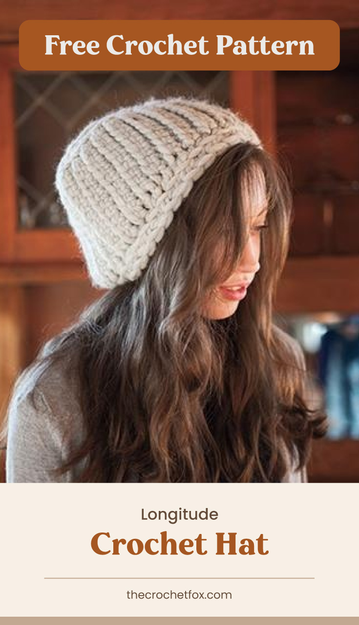 """Text area which says """"Free Crochet Pattern"""" next to a woman wearing a chunky crochet hat followed by another text area which says """"Longitude Crochet Hat, thecrochetfox.com"""""""