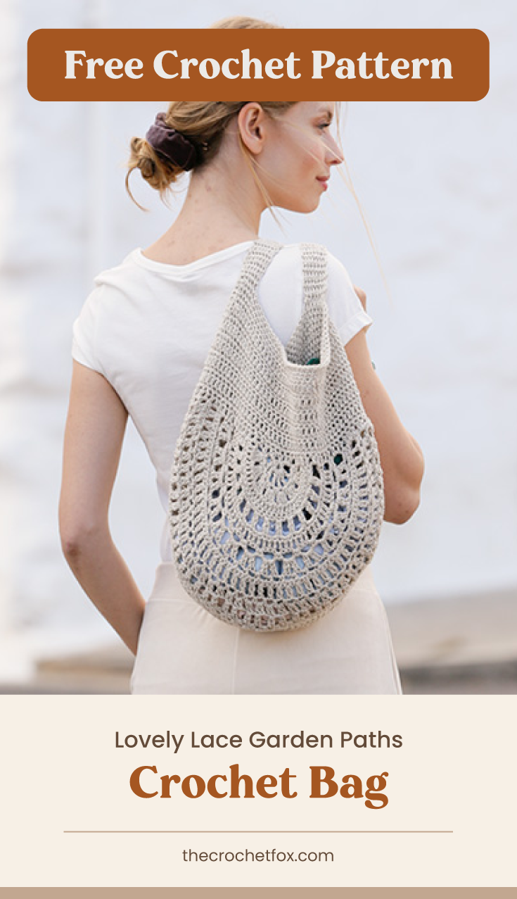 """Text area which says """"Free Crochet Pattern"""" next to a woman holding a linen colored crochet tote bag followed by another text area which says """"Lovely Lace Garden Paths Crochet Bag, thecrochetfox.com"""""""