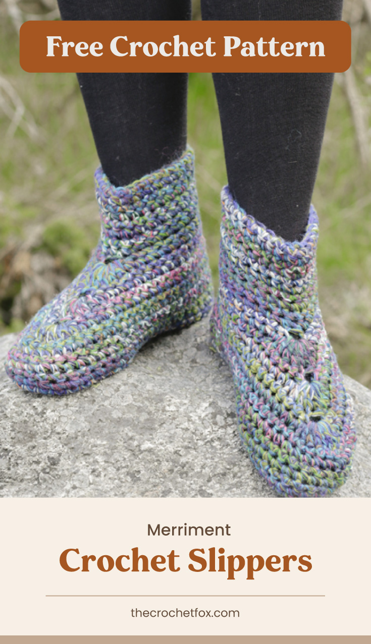 """Text area which says """"Free Crochet Pattern"""" next to a pair of feet wearing colorful crocheted slippers followed by another text area which says """"Merriment Crochet Slippers, thecrochetfox.com"""""""