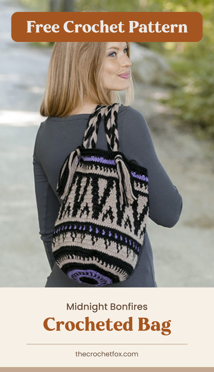 """Text area which says """"Free Crochet Pattern"""" next to a woman carrying a crocheted bag over her shoulder followed by another text area which says """"Midnight Bonfires Crocheted Bag, thecrochetfox.com"""""""