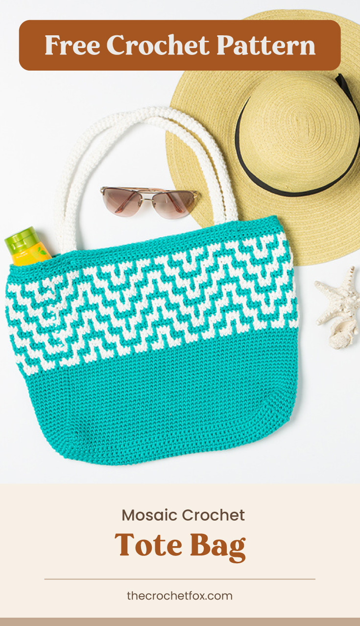 """Text area which says """"Free Crochet Pattern"""" next to a turquoise crochet bag surrounded by beach items followed by another text area which says """"Mosaic Crochet Tote Bag, thecrochetfox.com"""""""
