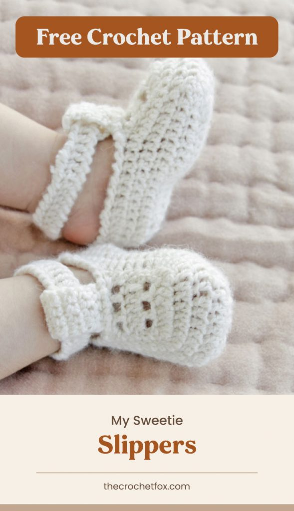 """Text area which says """"Free Crochet Pattern"""" next to a pair of white crocheted baby slippers followed by another text area which says """"My Sweetie Slippers, thecrochetfox.com"""""""