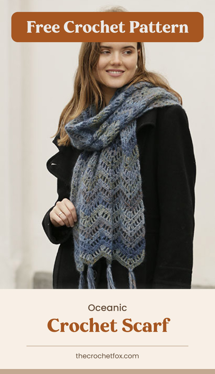 """Text area which says """"Free Crochet Pattern"""" next to woman wearing a crocheted scarf with a zigzag pattern followed by another text area which says """"Oceanic Crochet Scarf, thecrochetfox.com"""""""