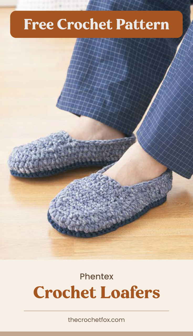 """Text area which says """"Free Crochet Pattern"""" next to a person wearing a pair of crocheted loafers in his pajamas followed by another text area which says """"Phentex Crochet Loafers, thecrochetfox.com"""""""