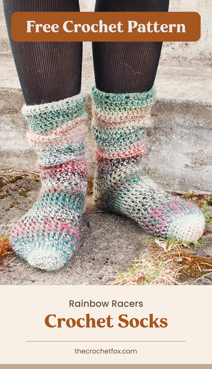 """Text area which says """"Free Crochet Pattern"""" next to a close-up to feet wearing a pair of muted rainbow colored striped corchet socks followed by another text area which says """"Rainbow Racers Crochet Socks, thecrochetfox.com"""""""