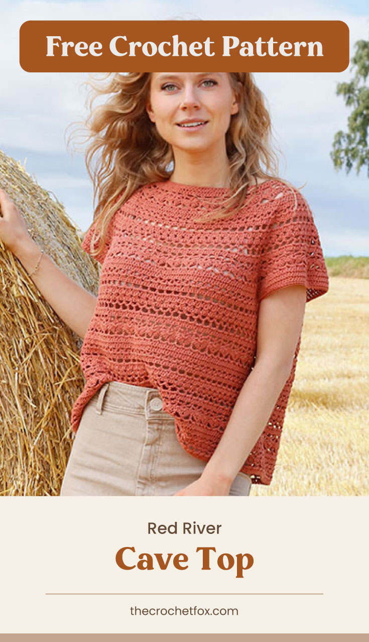 """Text area which says """"Free Crochet Pattern"""" next to a woman wearing a red crocheted top with a round yoke followed by another text area which says """"Red River Cave Top, thecrochetfox.com"""""""