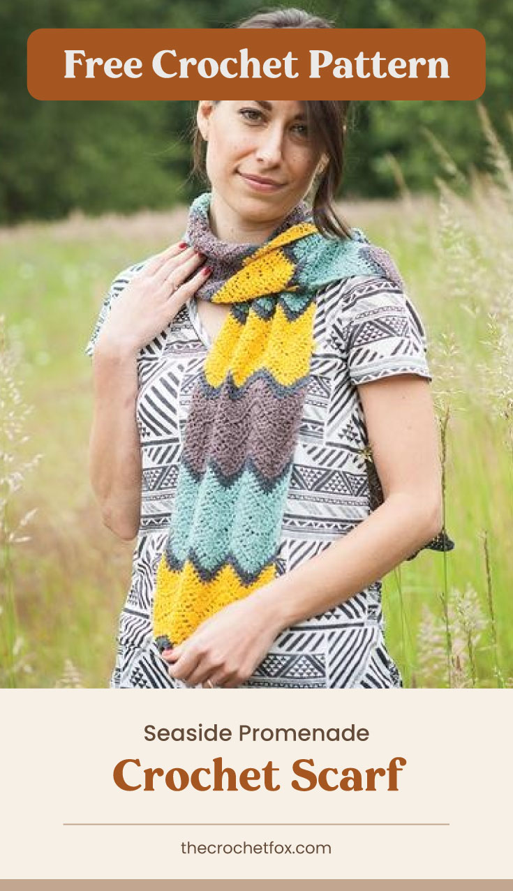 """Text area which says """"Free Crochet Pattern"""" next to woman wearing a crocheted scarf in colorful wavy patterns followed by another text area which says """"Seaside Promenade Crochet Scarf, thecrochetfox.com"""""""