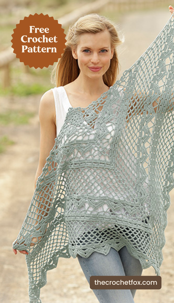 """A woman holding a mint green lace crochet shawl outdoors and text area which says """"Free Crochet Pattern, thecrochetfox.com"""""""