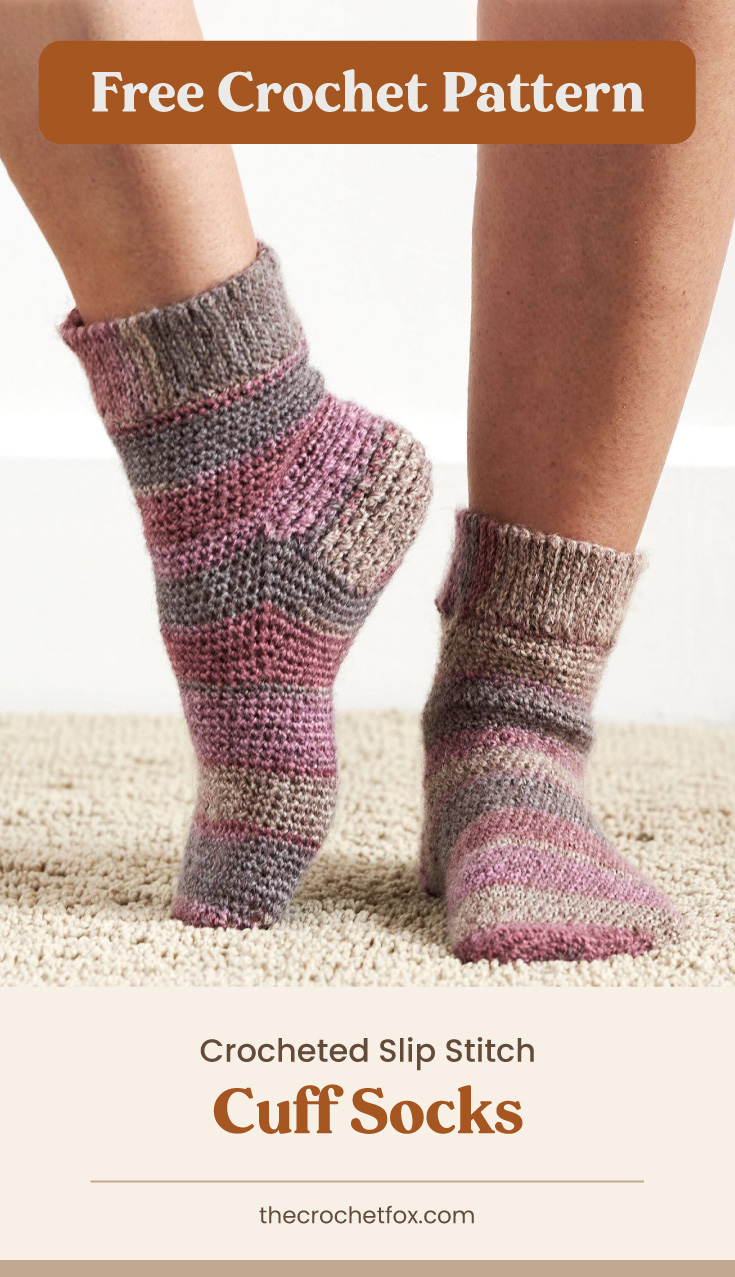 """Text area which says """"Free Crochet Pattern"""" next to a close-up to feet wearing a pair of pink, red and brown striped corchet socks followed by another text area which says """"Crocheted Slip Stitch Cuff Socks, thecrochetfox.com"""""""