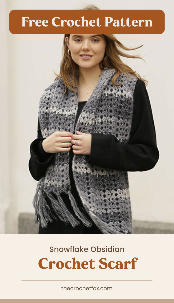 """Text area which says """"Free Crochet Pattern"""" next to woman wearing a black and white crocheted scarf with tassled ends followed by another text area which says """"Snowflake Obsidian Crochet Scarf, thecrochetfox.com"""""""