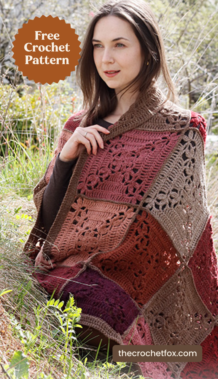"""A woman wrapped on a red and brown crochet squares blanket outdoors and text area which says """"Free Crochet Pattern, thecrochetfox.com"""""""
