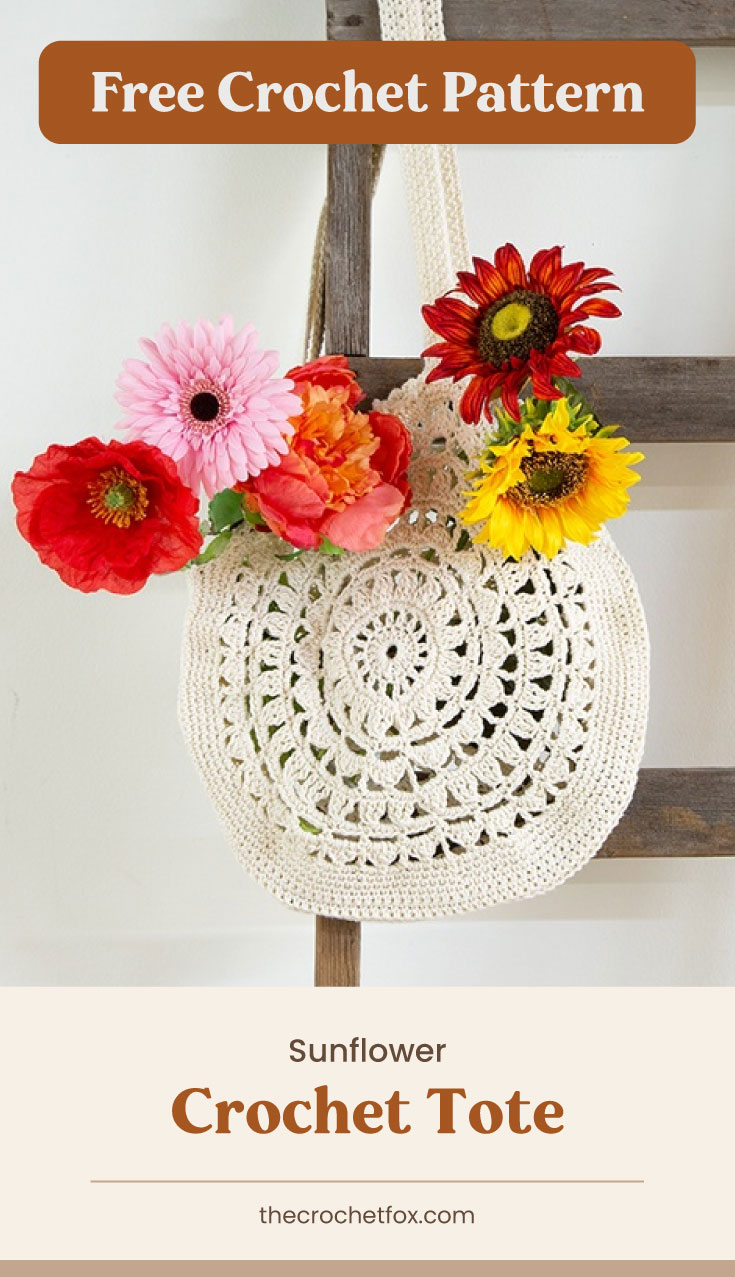 """Text area which says """"Free Crochet Pattern"""" next to a circular crocheted bag filled with flowers hanging on a ladder followed by another text area which says """"Sunflower Crochet Tote, thecrochetfox.com"""""""