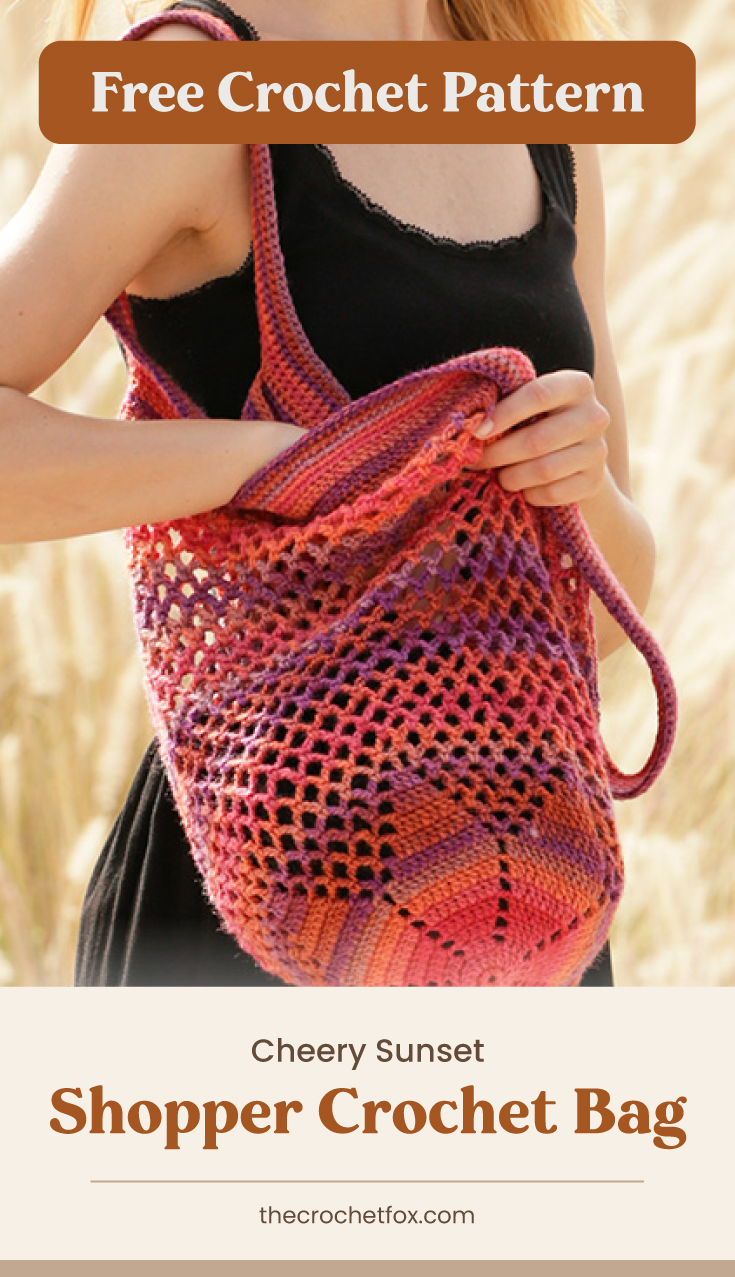 "Text area which says ""Free Crochet Pattern"" next to a close-up to a woman holding a red crochet tote bag followed by another text area which says ""Cheery Sunset Shopper Crochet Bag, thecrochetfox.com"""
