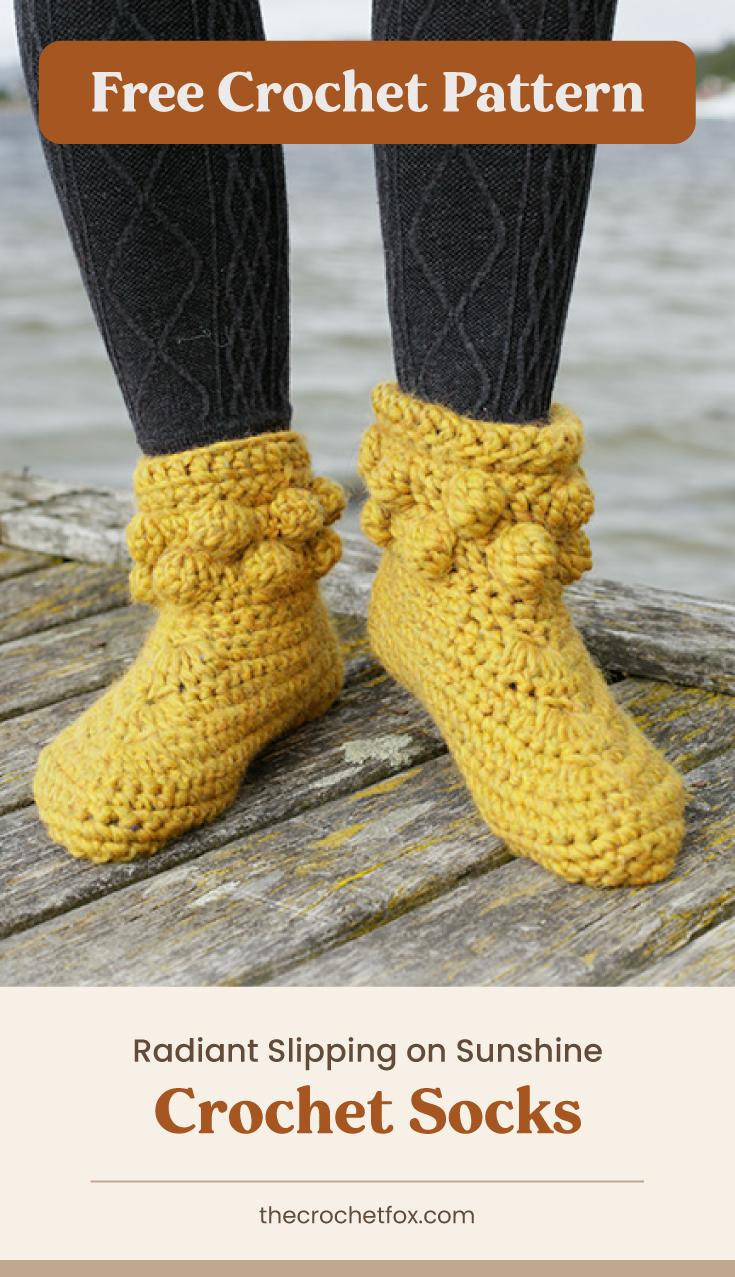 """Text area which says """"Free Crochet Pattern"""" next to a close-up to feet wearing a pair of yellow corchet slippers with bobbles followed by another text area which says """"Radiant Slipping on Sunshine Crochet Socks, thecrochetfox.com"""""""