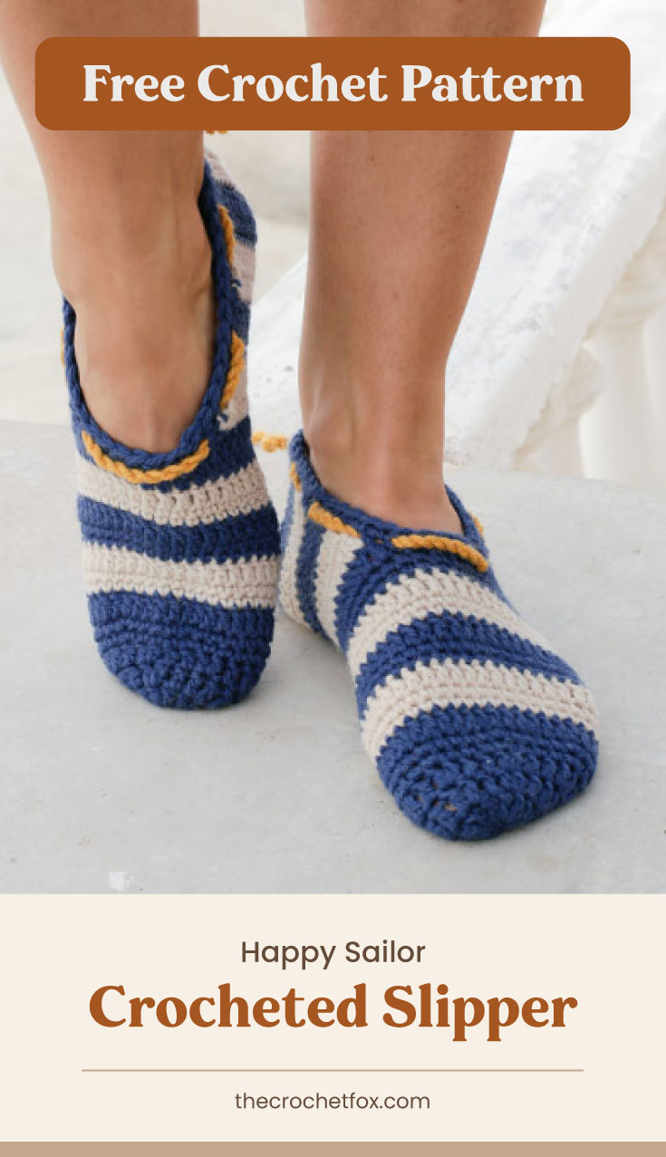 """Text area which says """"Free Crochet Pattern"""" next to a close-up to a woman's feet wearing blue and white striped crochet slippers followed by another text area which says """"Happy Sailor Crocheted Slipper, thecrochetfox.com"""""""