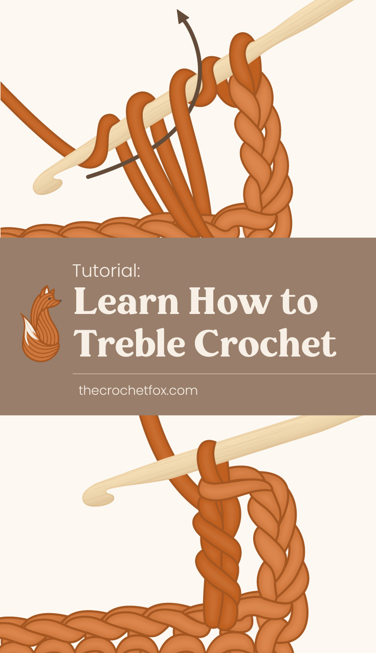 """Treble crochet being made next area which says """"Learn  Learn How to Treble (Triple) Crochet , thecorchetfox.com"""" followed by one treble crochet made"""