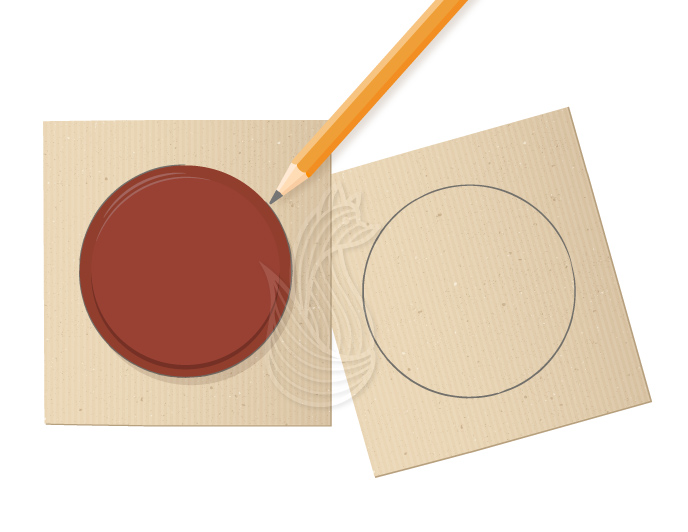 How to Make Pom Poms Step 1: A red circular lid being traced on a piece or cardboard using a pencil.
