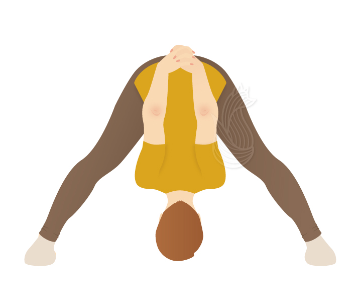 A woman bending down with arms at the back and legs spread to a triangle.