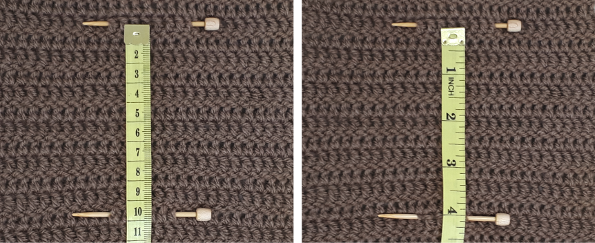 Two swatches of brown crocheted fabric pinned and measured using a tape measurer