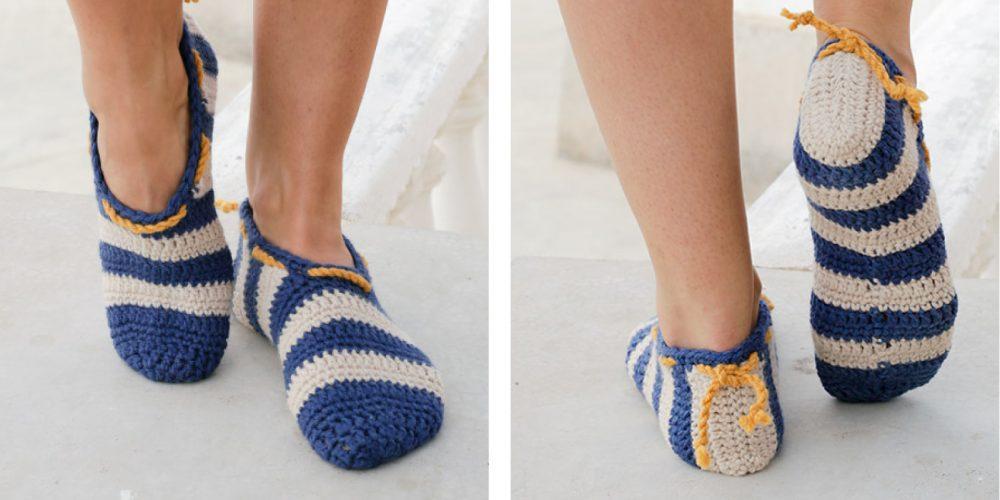 Happy Sailor Crocheted Slipper [FREE Crochet Pattern] | thecrochetfox.com
